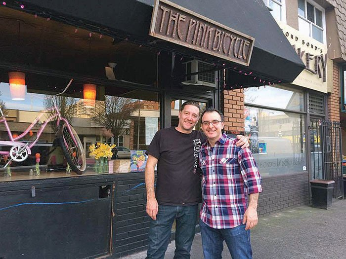 Food Network's John Catucci host of You Gotta Eat Here! was in Victoria filming recently. Shown here with The Pink Bicycle owner Morgan Hradecky after a day of filming.