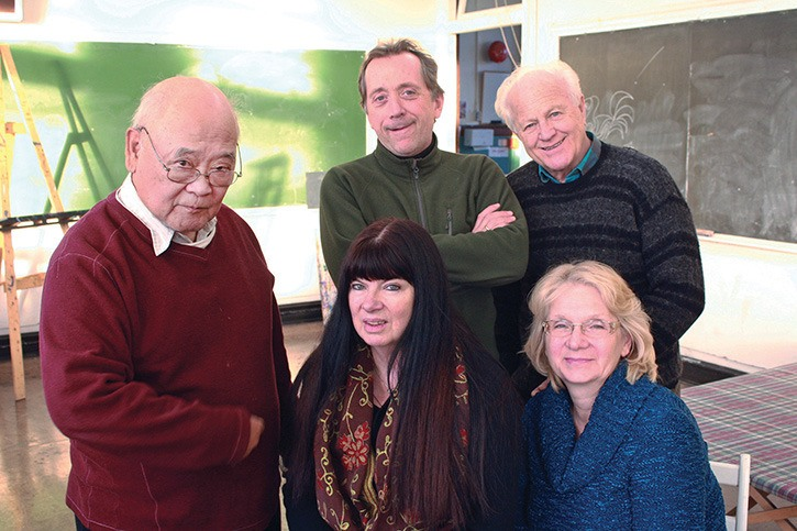 Victoria College of Art president Peter Such, top right, instructors Victor Arcega (left), Steve McCallum, Yvonne Owens and vice-president Nancy Ruffalo. The college celebrates its 40th anniversary during its 2013/14 year, and anticipates a big turnout for its student art show Dec. 19-21.