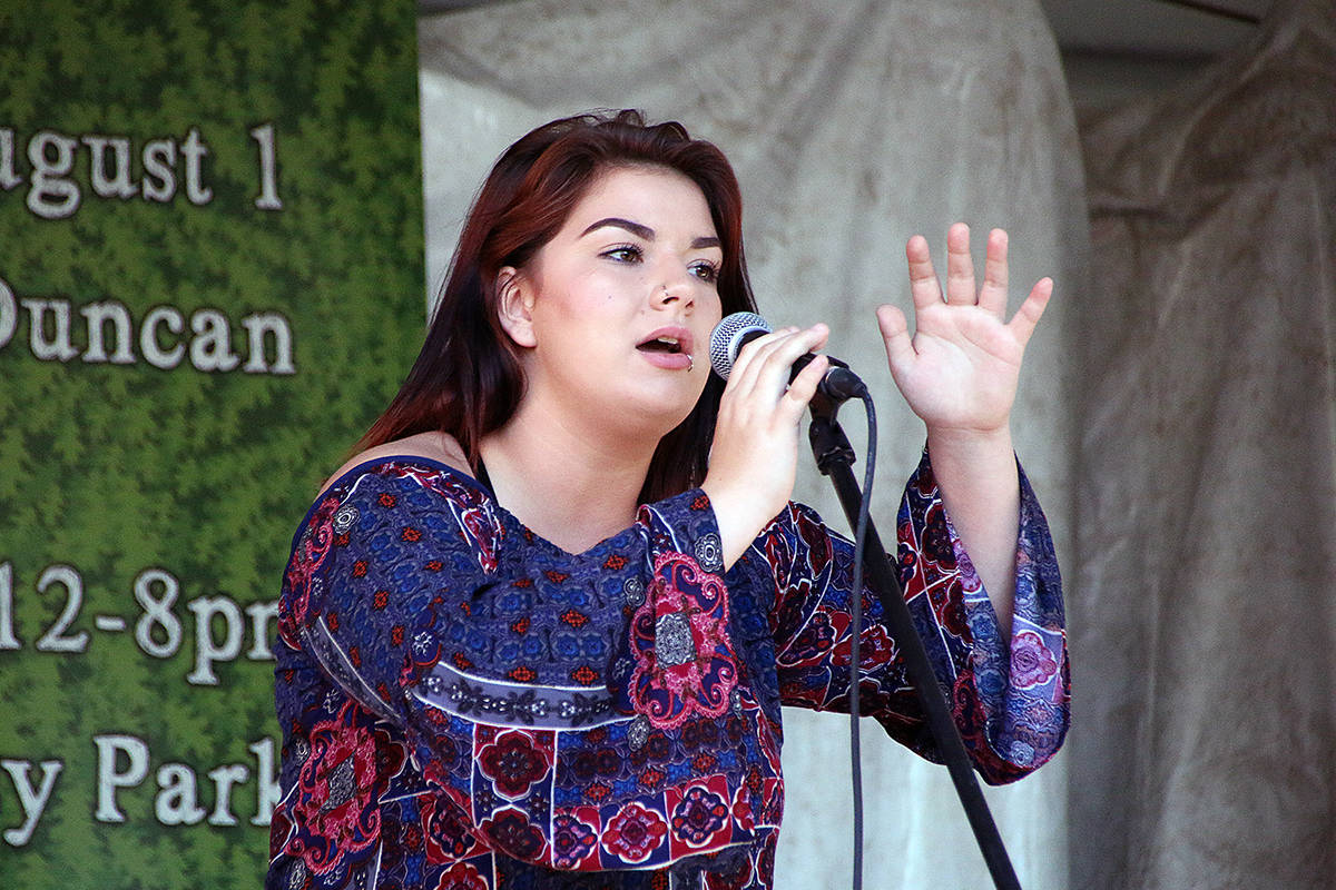 Madisen Haiverson sings for the judges and the crowd at Duncan Has Talent. (Lexi Bainas/Black Press files)