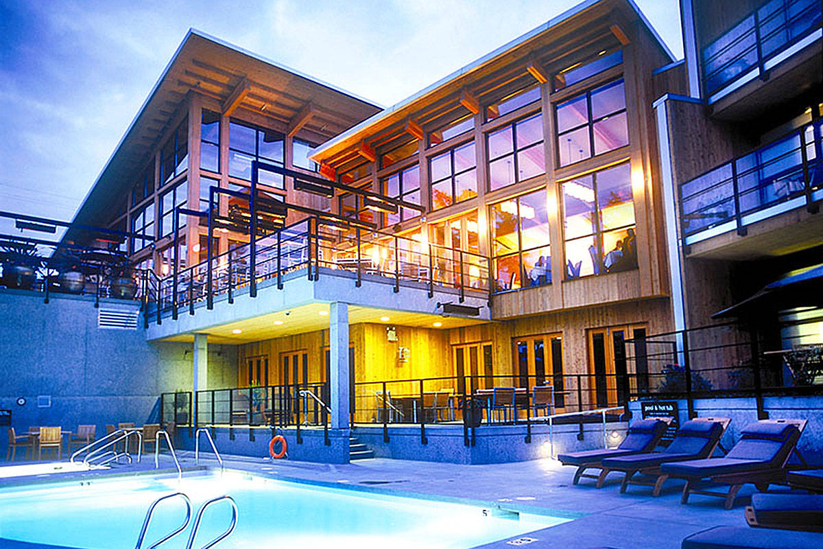 Early evening glow from the pool deck at the Brentwood Bay Resort and Spa. Photo contributed