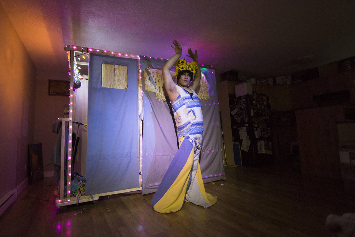 Ryver Cegnar performs a song during a dress rehearsal for this living room production of Priscilla: Queen of the Desert in Campbell River, B.C. on June 15, 2020. Photo by Marissa Tiel – Campbell River Mirror