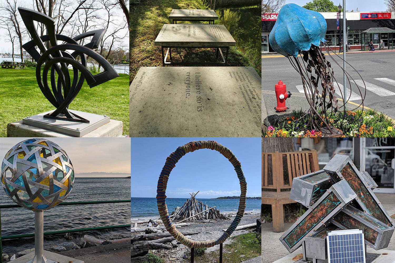Two of the 2019 ArtsAlive sculptures on display in Oak Bay. Jelly, top right, by Nathan Smith, and Portal, bottom centre, by Heather Passmore, have been donated to Oak Bay. (District of Oak Bay Photos)